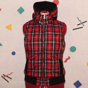 Hurley red plaid reversible sleeveless jacket